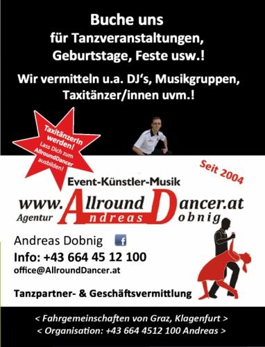 Visitenkarte Flyer Feb.15 Buche uns für Veranstaltungen Geburtstage Tel. 06644512100 AllroundDancer Taxi Tänzer