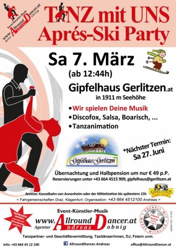 Gerlitzen Gipfelhaus Apres Ski & T m U Party  Sa .7.3. nächster Sommer Termin 27.6.15