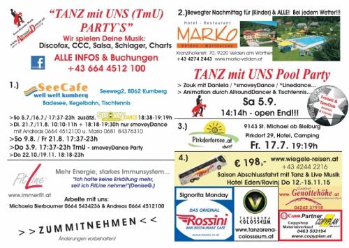 TANZ mit UNS Hotel Marko 5.9.15, Seecafe Kumberg bis 19.11. mit smoveyDance, Fitline Arbeite mit uns, Wiegele Tanzreise 12.11.