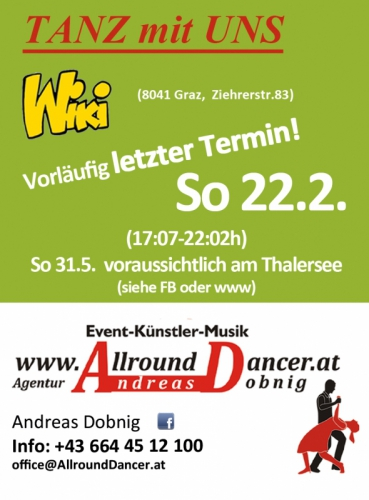 Wiki Letzter Abend Sonntag 22.2.  um 17:07 oder  (So 31.5. sonst am Thalersee um 17h Info T. 06644512100